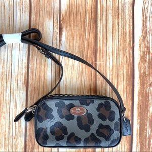 Coach Crossbody Bag Pouch Gray Ocelot Leopard